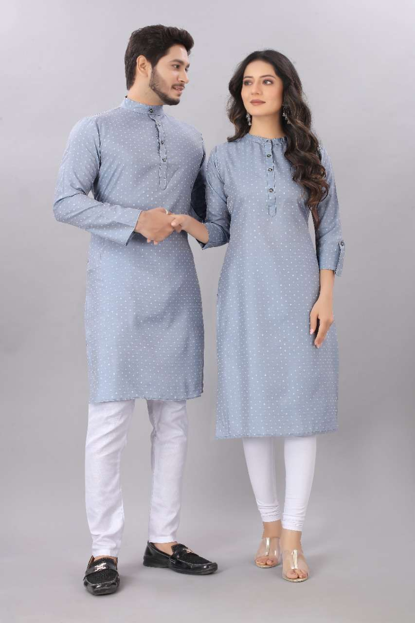 Couple Kurta Light Grey color