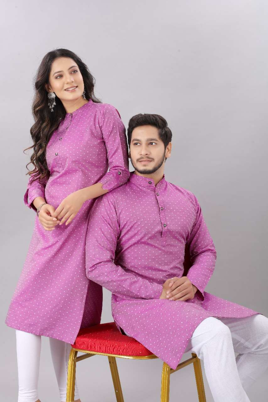 Couple Kurta violet pink color