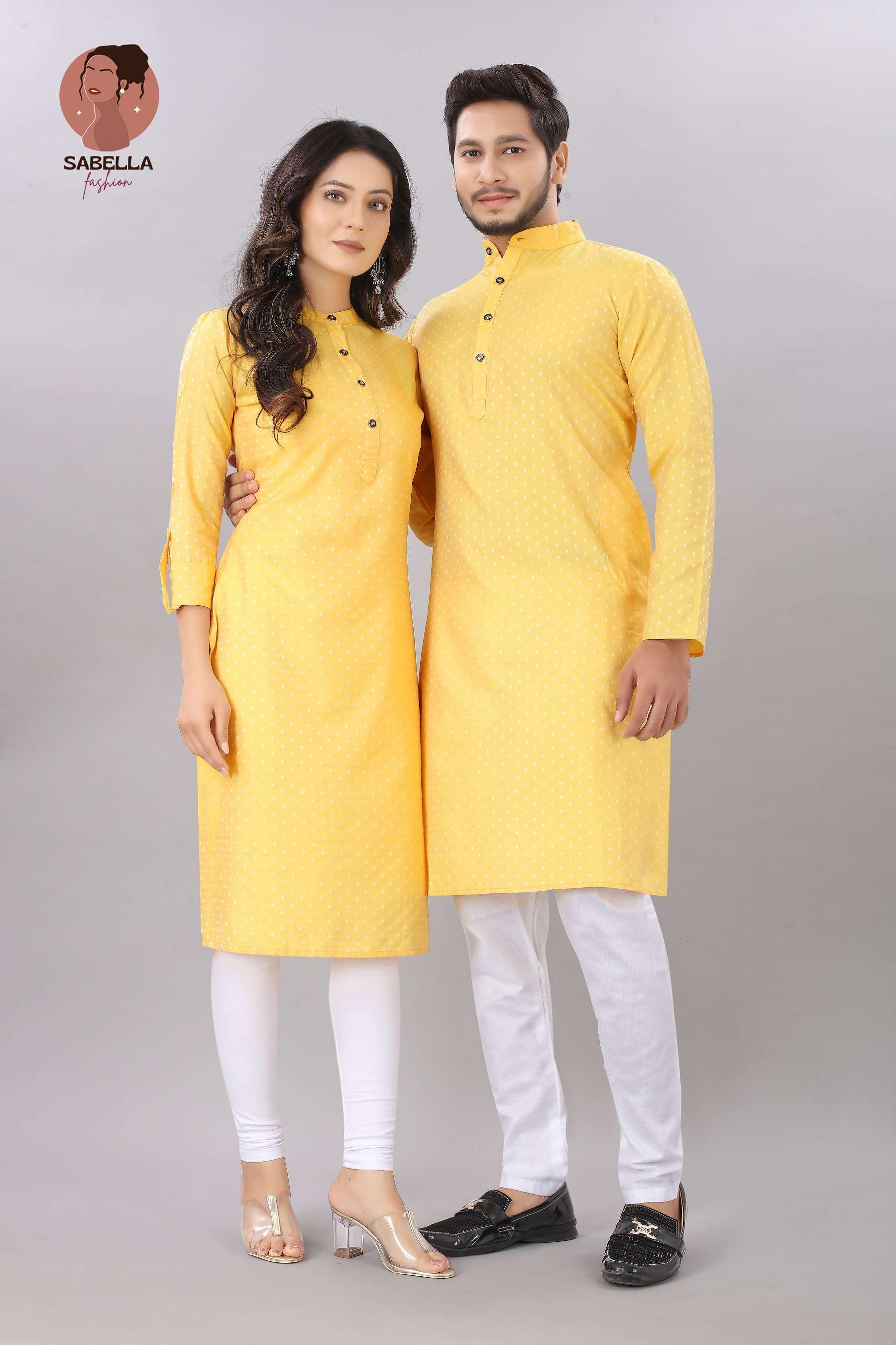 Couple Kurta Yellow Color