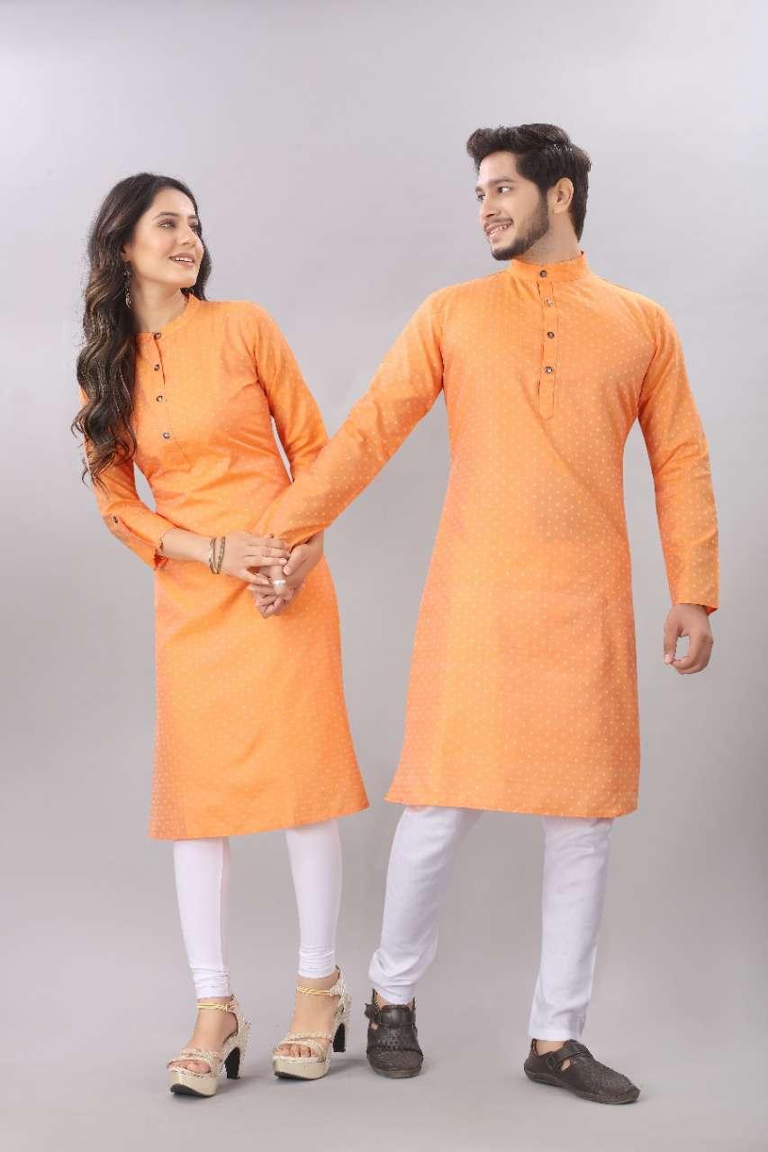 Couple Kurta  Orange Color