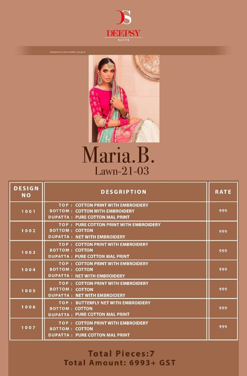 Deepsy Maria B Lawn 2021 Vol 3