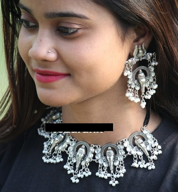 IJ Jewellery Oxidised Silver Ganesh Choker Set  Buy Choker Necklace Set Online at Low price