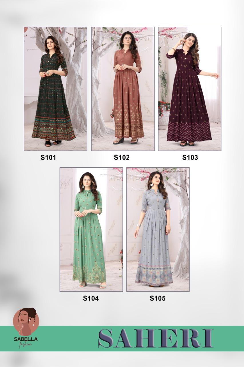 Sabella Fashion Saheri Gown style Manufacturer wholesale Designer kurti catalog