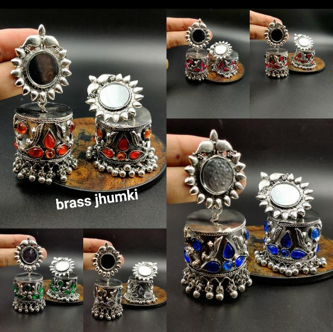 IJ Presents Oxidized Jhumki Buy Online Silver Oxidized Mirror Work Jhumki Earrings