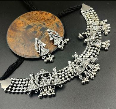 IJ Presents Oxidised Silver Choker Necklace & Earrings Set Buy Oxidised Jewellery Set online in India