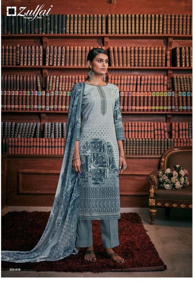 Zulfat presents Iris Pure Jam Cotton Designer Dress Material