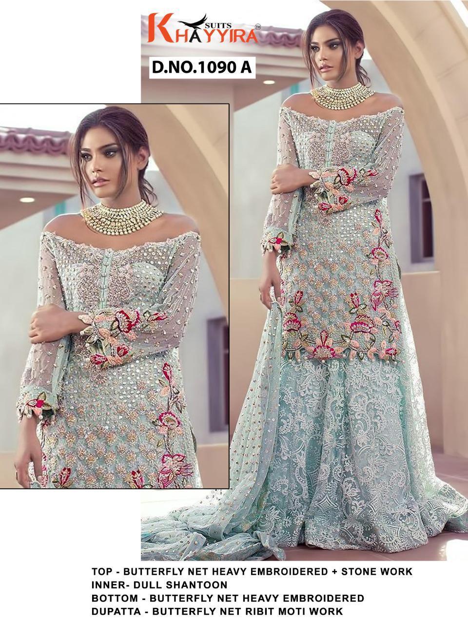 Khayyira Saira Dn 1090 Designer Butterfly Net Embroidered Pakistani suits