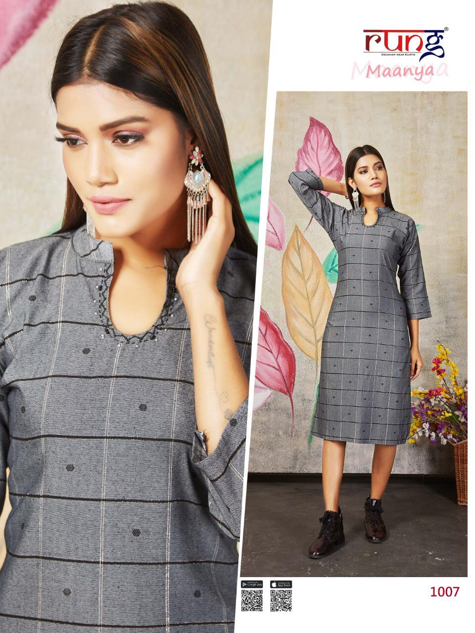 Rung presents Maanya Regular Wear  Kurtis Collection
