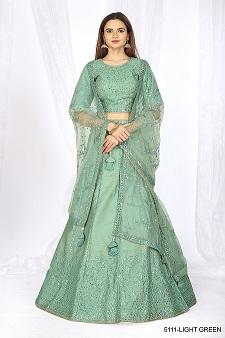 Women's Heavy Net Green Lehenga Choli