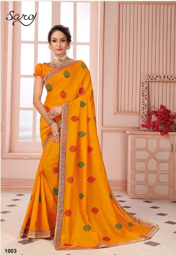 Saroj presents  Biography Festive Wear  Sarees Collection