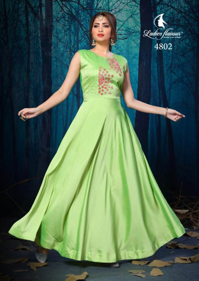 Lotus  by  Ladies Flavour  Silk Gown Style Long Kurti collection