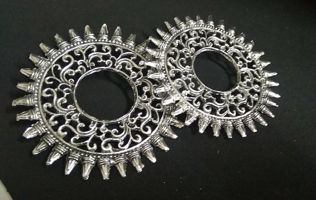 IJ Presents Traditional Silver Oxidised Combo Ethnic Jhumka Jhumki Stud Earrings For Women And Girls