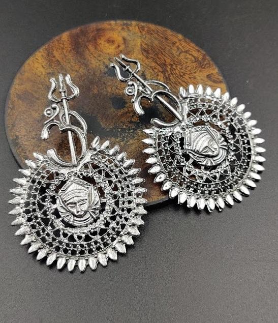 IJ Presents Oxidised Metal Silver Plated Devotional Om Trishul Damroo Earrings For Girls And Women