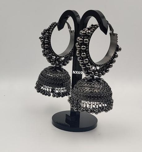 IJ Presents Silver Oxidised Brass jhumka Earrings