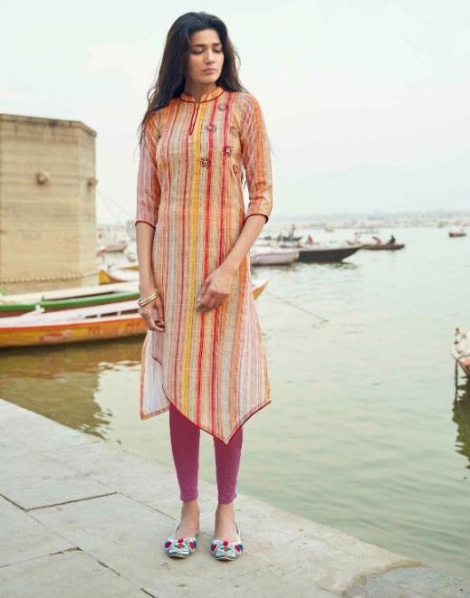Vastra Moda Present Benaras Vol 1 Casual Wear Kurtis Collection.