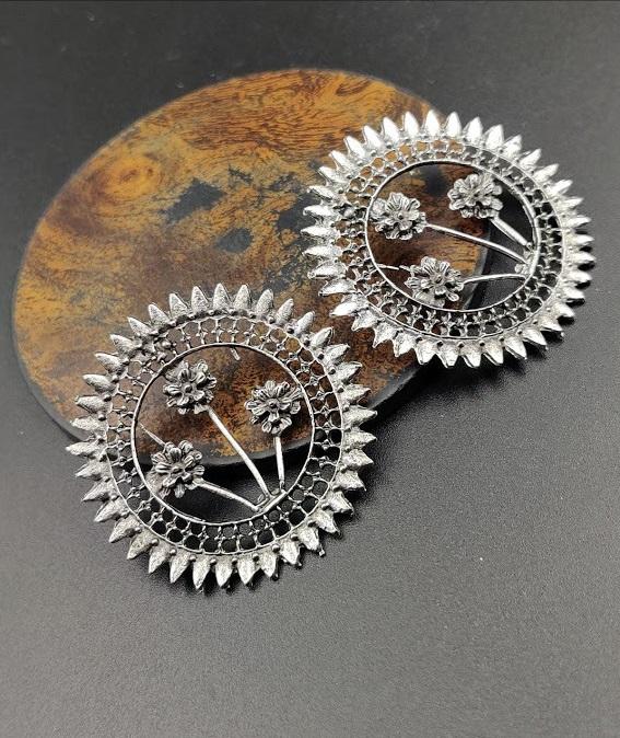 IJ Presents Party Wear Wedding Eid Designer Oxidized Silver Stud Earrings For Women And GirlsParty Wear Designer Oxidised Jewellery Online Shopping for