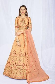 Designer Peach Lehenga Choli Online Shopping