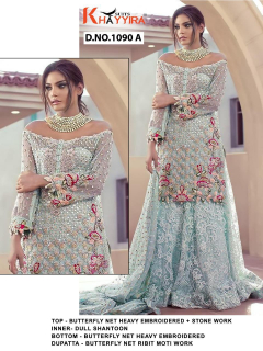 Khayyira Saira Dn 1090 Designer Butterfly Net Embroidered Pakistani suits