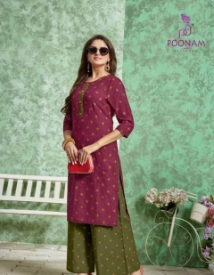 Divya By Poonam Pure Cotton Printed Kurti With Palazoo Collection
