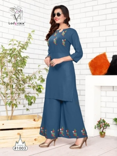 Ladyview Present New Plazzo Point Premium Quality Rayon Kurti With Bottom