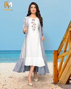 Meerali silk mills present chunari vol 1 Party Wear long kurtis with shrug collection.