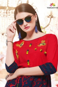 Nirvu Vol 1 By Vardan Designer Rayon Long Kurtis Collection