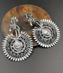 IJ Presents Oxidised Metal Silver Plated Devotional Om Trishul Damroo Earrings For Girls And Women