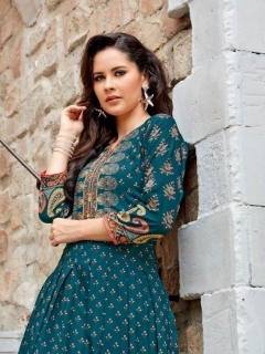 Rangreza By Ladies Flavour Muslin Digital Printed Long Kurtis Catalogue