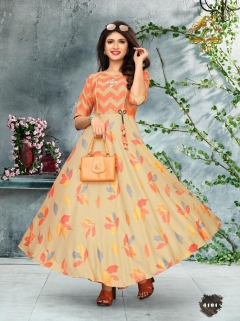 Rijiya Trends Present Shiny Festival Wear Round Printed Kurtis Collection.