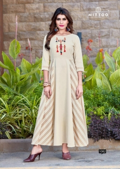Riwaz By Mittoo Rayon Flax  Long Kurtis Collection