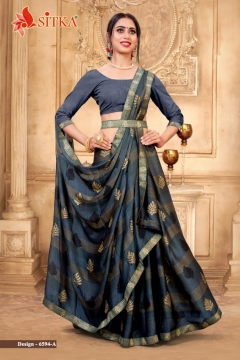 Sitka  presents Minaj Black printed Sarees Collection