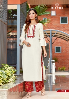 Mittoo Panghat Vol 8 Designer Kurti With Plazzo Collection